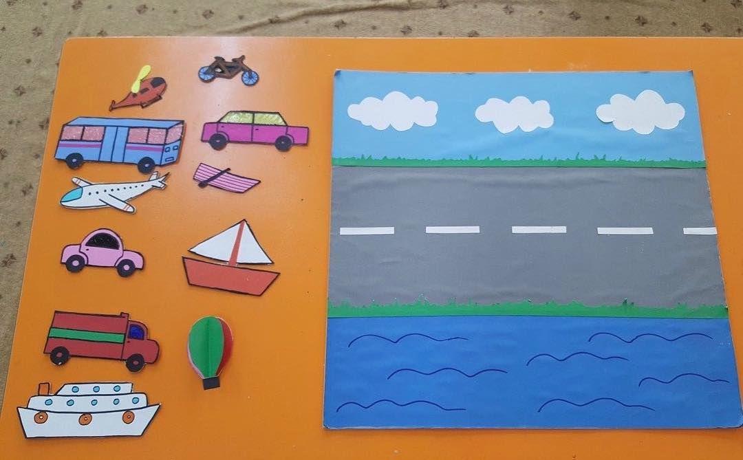 """آموزش بازی، کاردستی و نقاشی on Instagram: """"بازی آموزنده و جذاب برای بچه ها برای شناخت وسایل نقلیه! میتونید حتی از اسباب بازی های کوچولوی کودکتون استفاده کنید برای این بازی❤️ دوست…"""""""