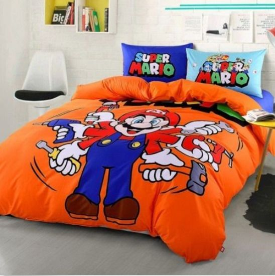 Twin Amp Queen Size Super Mario Blue, Mario Bed Sheets Queen