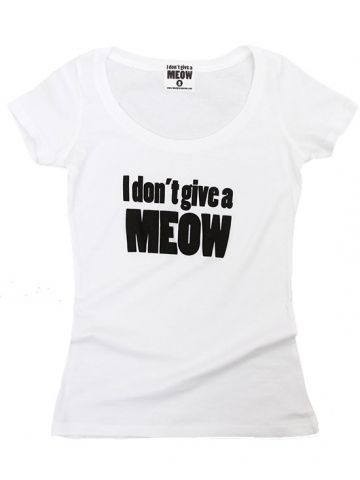 """Women's """"I Don't Give A Meow"""" Tee by Jessica Louise (White) #InkedShop #wordtee #meow #humor #cat"""