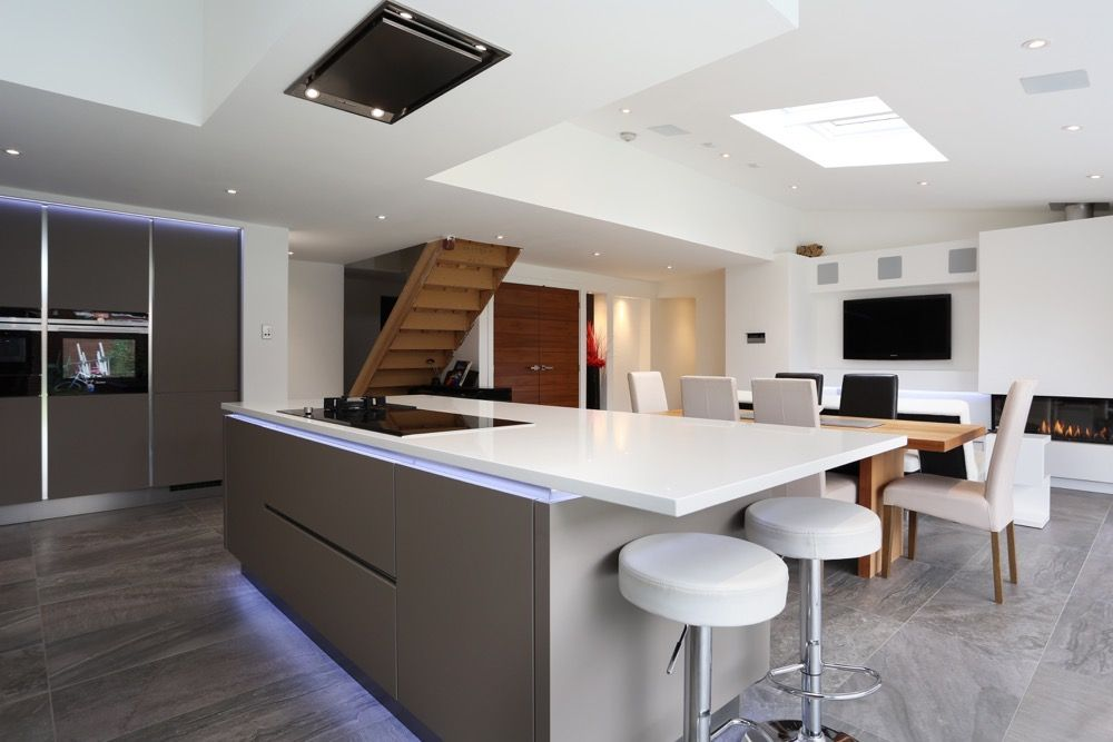 white and grey kitchen extension - kitchen island with ceiling