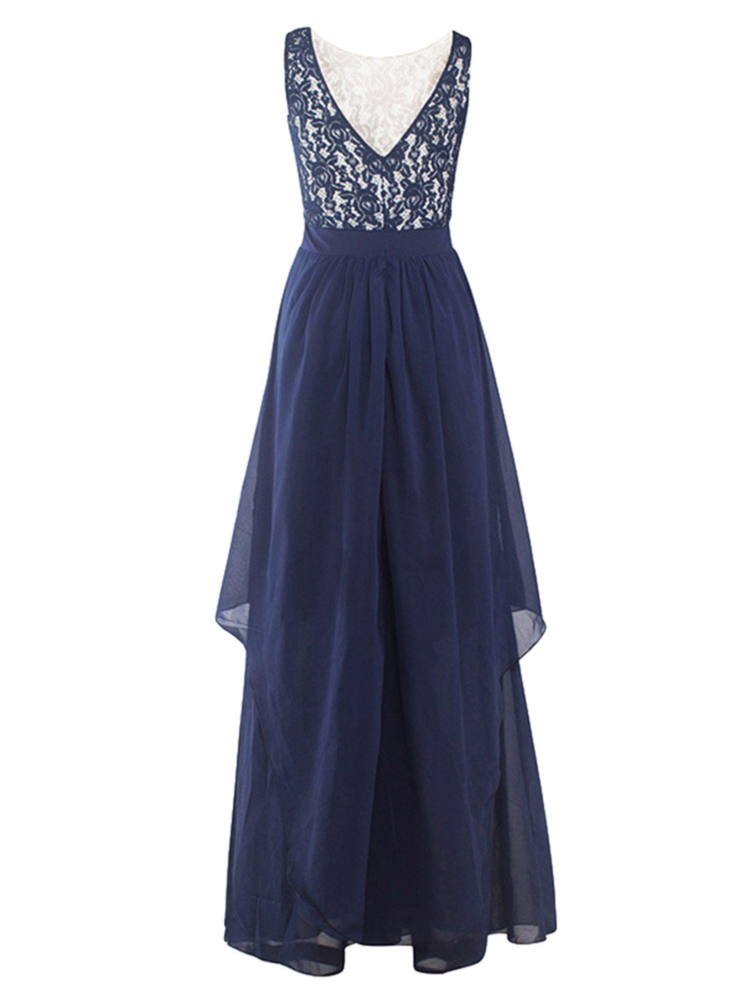 53b349a497c4 Women Party Ball Gowns Long Maxi Dress Lace Chiffon Wedding Bridesmaid  Floor-Length Sleeveless Evening Cocktail Prom Dresses  Ad  Dress