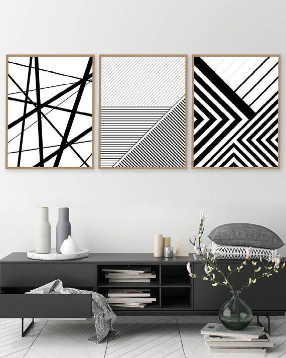 Printable art set of 3 geometric prints set of 3 prints