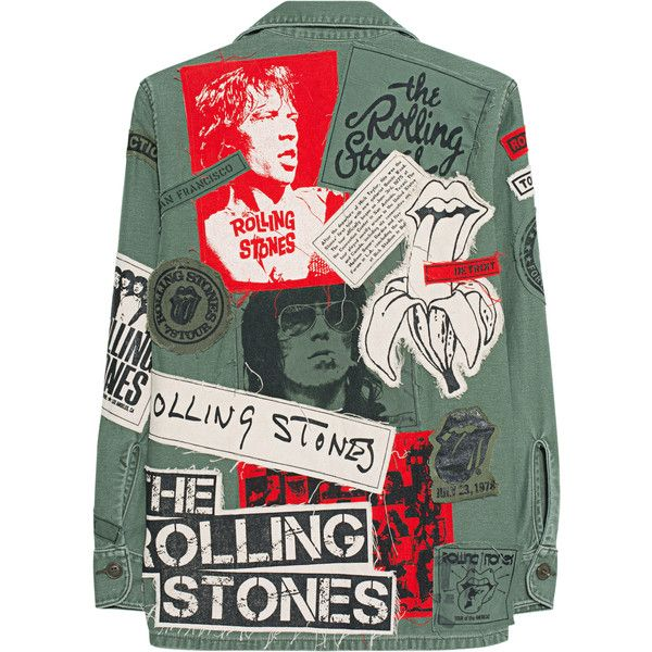 MadeWorn Stones Exile On Main St Army // Denim jacket with band ...