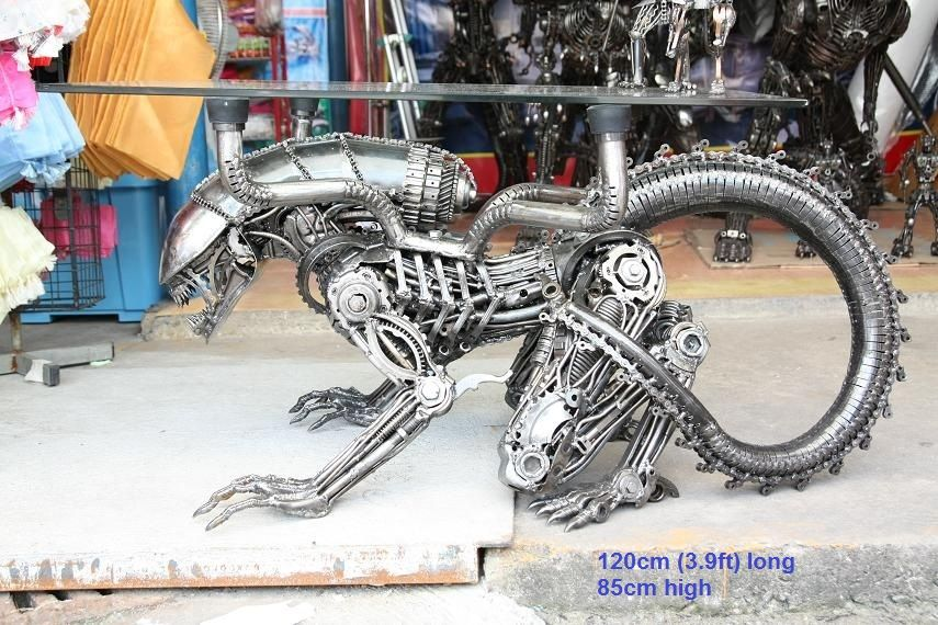 alien figure table furniture statue scrap metal art for sale | Metal ...