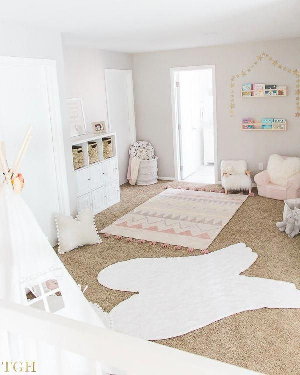 How to Use Your Loft as a Playroom. Loft Playroom. Kids Playroom Small Spaces. Kids Playroom Attic. Girls Playroom. Playroom Teepee. Playroom Bookshelves on a Wall. Playroom Sitting Area. Imaginative Play Ideas. #kids #playroom #teepee #kidsdecor #HomeInteriorDecor