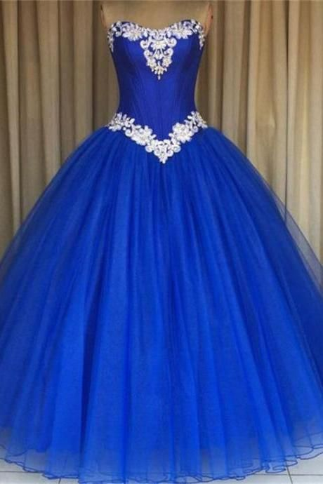 royal blue prom formal gowns strapless applique tulle ball gown quinceanera dresses for sweet. Black Bedroom Furniture Sets. Home Design Ideas