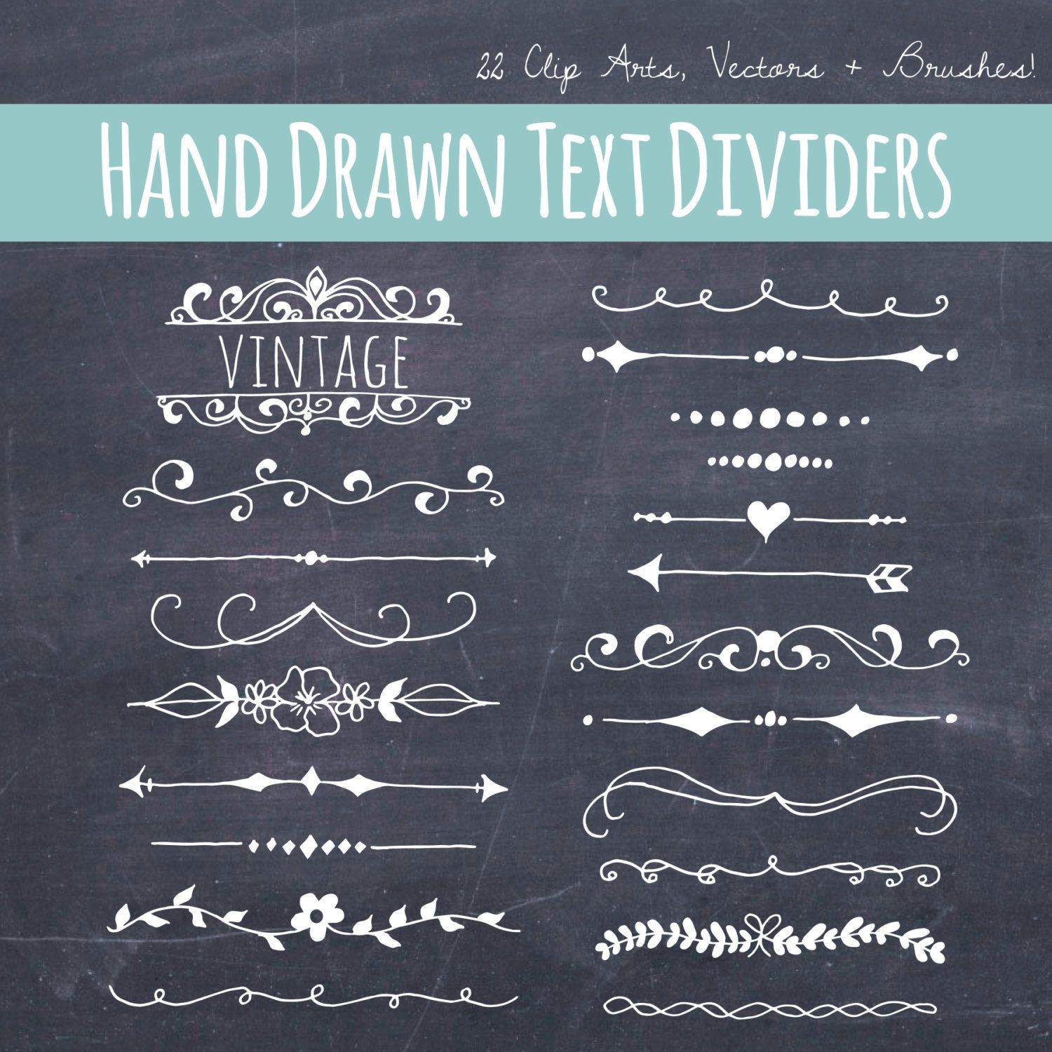 Clip art chalkboard text dividers plus photoshop brushes hand
