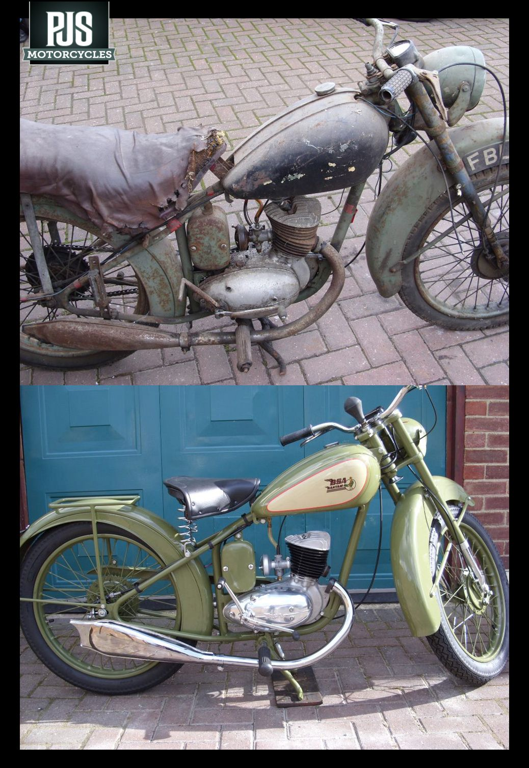 The Classic Before And After Shot This Bsa Bantam Came To Pjs Looking Rather Sorry For Itself And Left Fully Res Bsa Motorcycle Bsa Bantam Classic Motorcycles