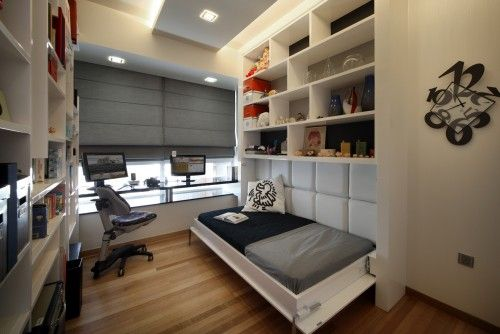 A Flip Up Bed Converts An Office To A Guest Room Great Idea