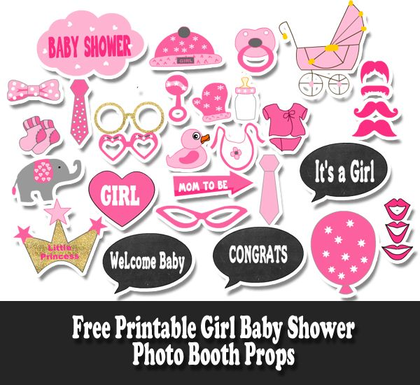 photo relating to Free Printable Photo Props named Free of charge Printable Female Boy or girl Shower Photograph Booth Props Cricut