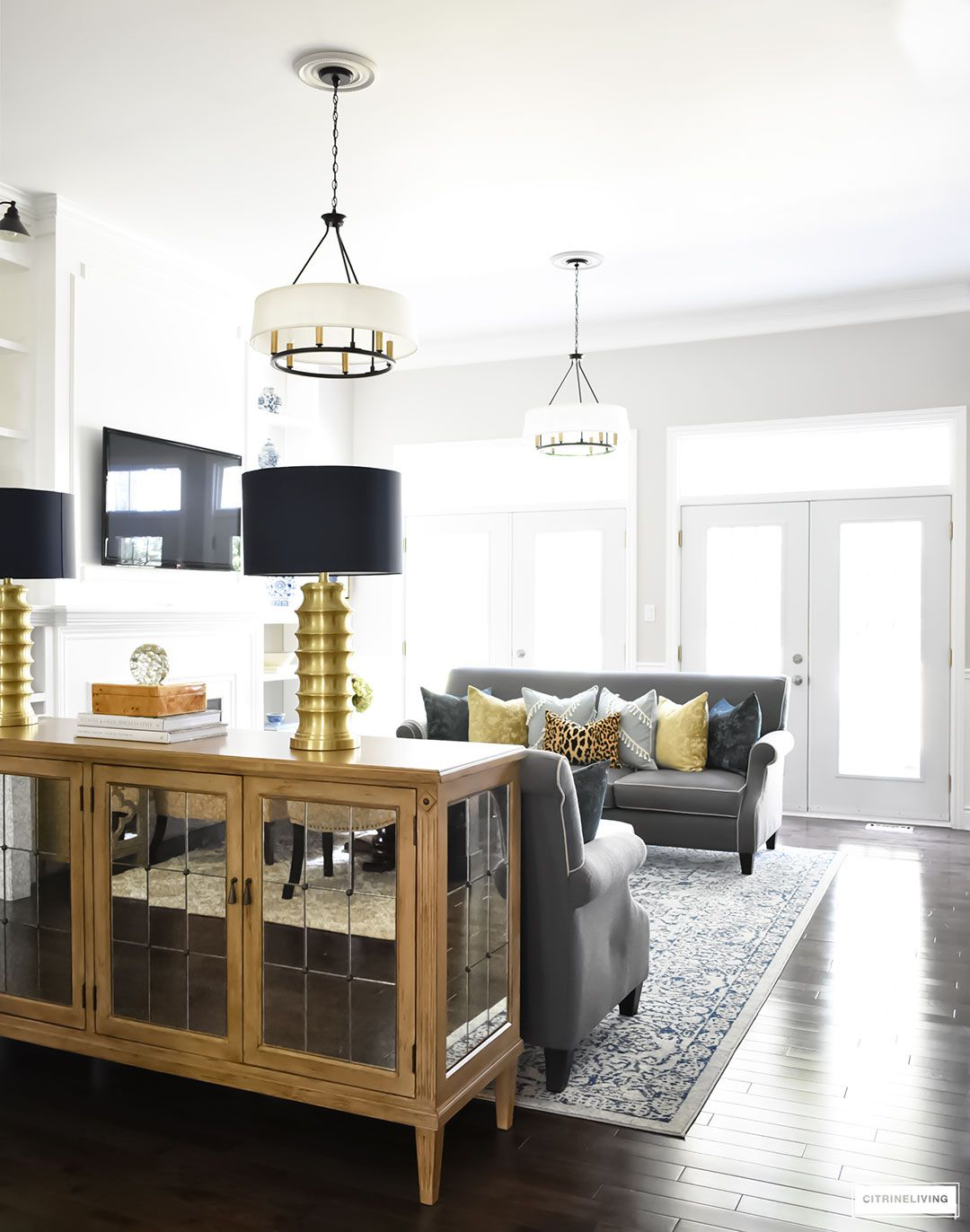Gold And Gray Living Room: FALL HOME TOUR USING RICH COLORS, BRASS AND GOLD
