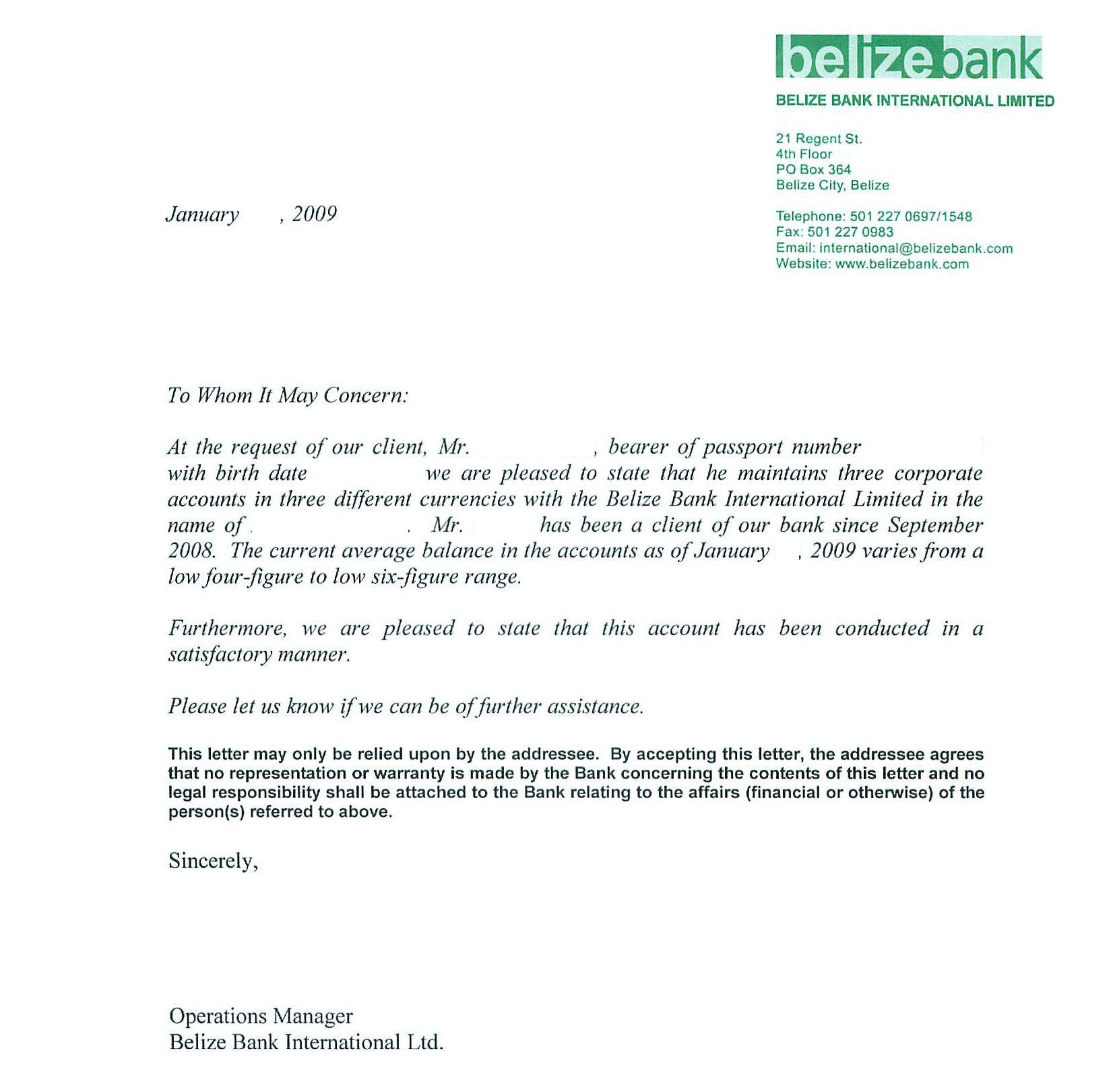Sample Bank Reference Letters Starting Business Bank Ref