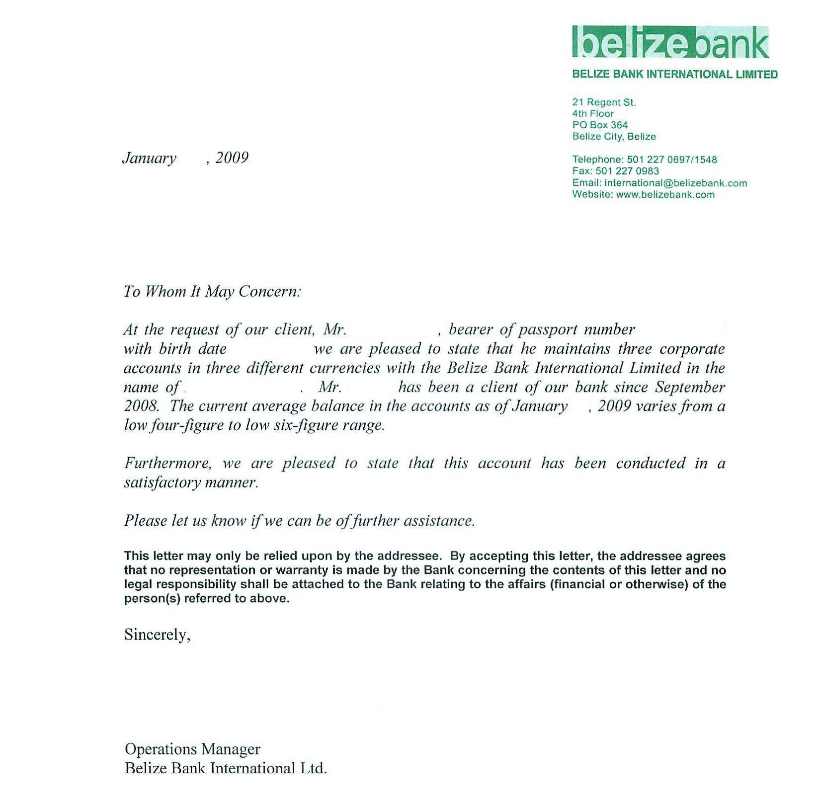 Sample Bank Reference Letters Business Letter Format