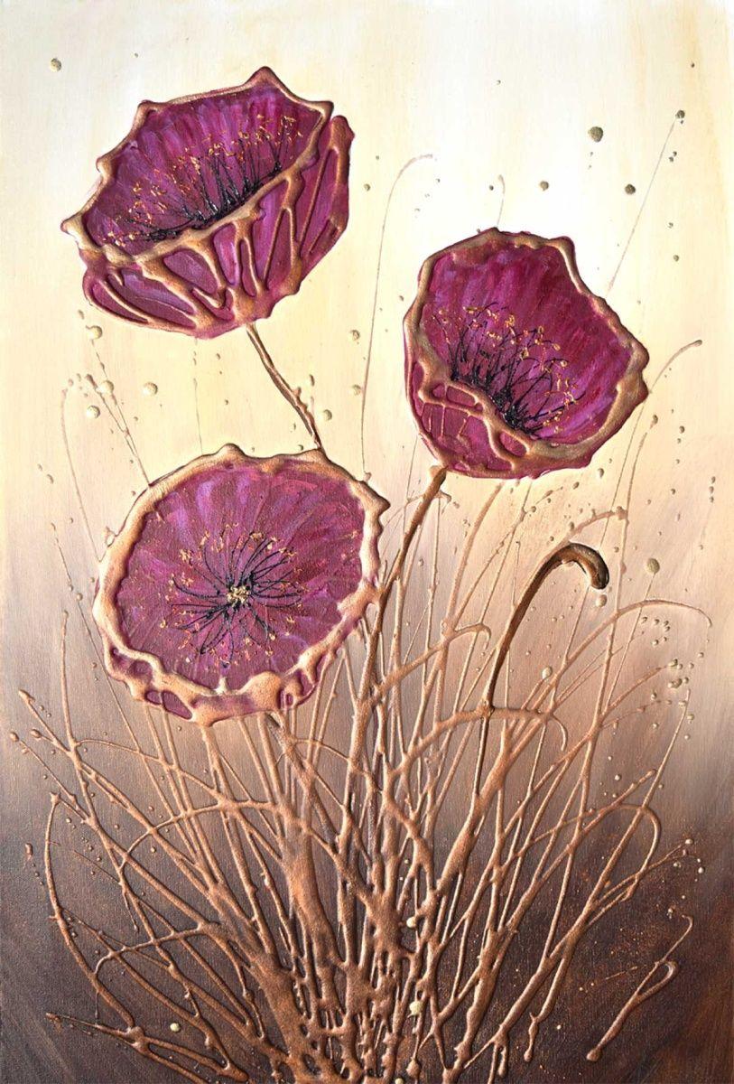 Burgundy Poppy Flowers Acrylic Painting By Amanda Dagg Artfinder