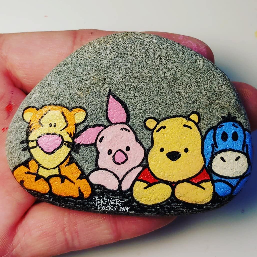 """Jenevere Rocks on Instagram: """"Winnie the Pooh & friends Painted with @pintar.artsupply paint pens. Sealed with art resin after picture was taken. This one is for a…"""""""