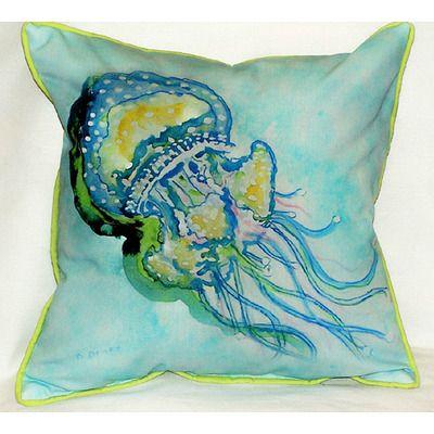 Aqua Blue Jellyfish Pillow Great Summer Colors Outdoor Throw Pillows Beach House Pillow Indoor Outdoor Pillows