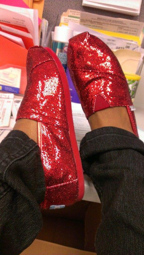 1c4c077d4fa Red glitter TOMS  TOMS