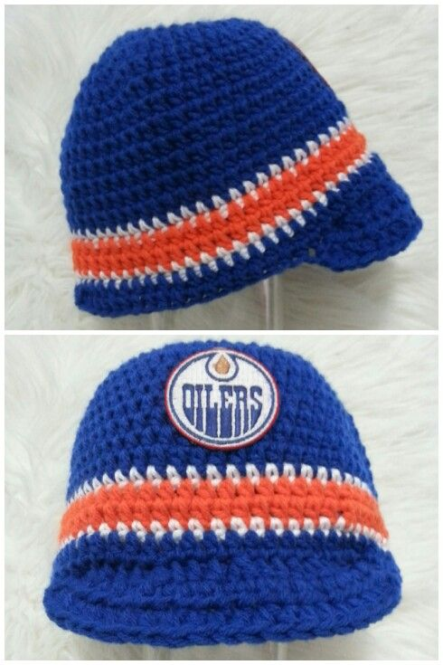 Loopy Lids Crochet Creations Edmonton Oilers Hat With Brim 30 To Order Find Me On Facebook Or Email Alicia Foster Hotmail Com Crochet Crochet Hats Hats