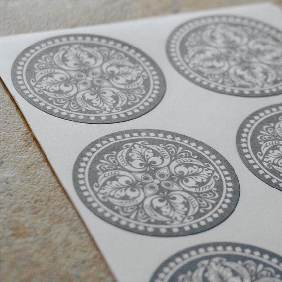 medium gray ornate round stickers 24 by seasprout on Etsy