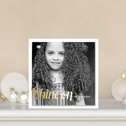 Magical mount holiday photo cards feature a bright marigold yellow font