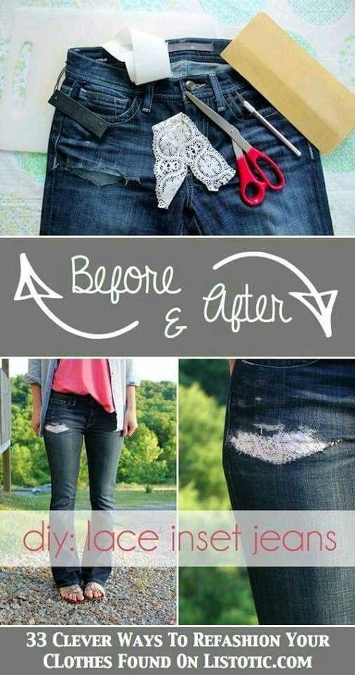 b2bbe4eba64 Have a rip or tear in your jeans  Patch it up with lace! Or