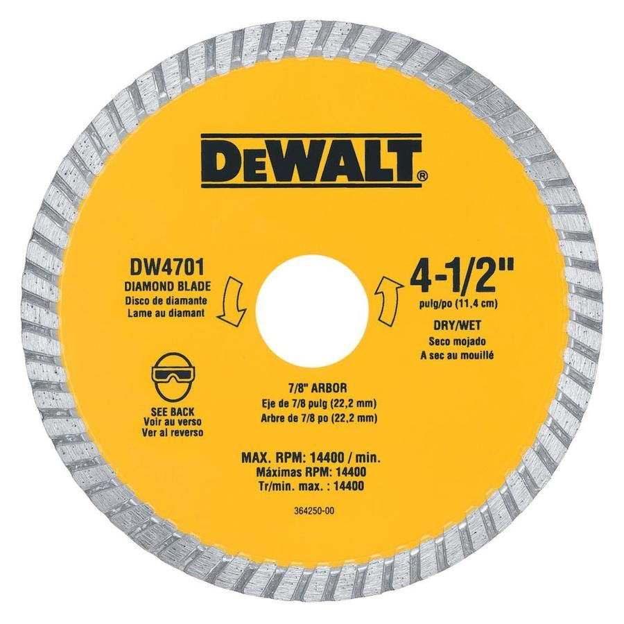 Dewalt Xp Diamond 4 5 In Diamond Arbor Grit Grinding Wheel Dw4701 Circular Saw Blades Dewalt Saw Blade