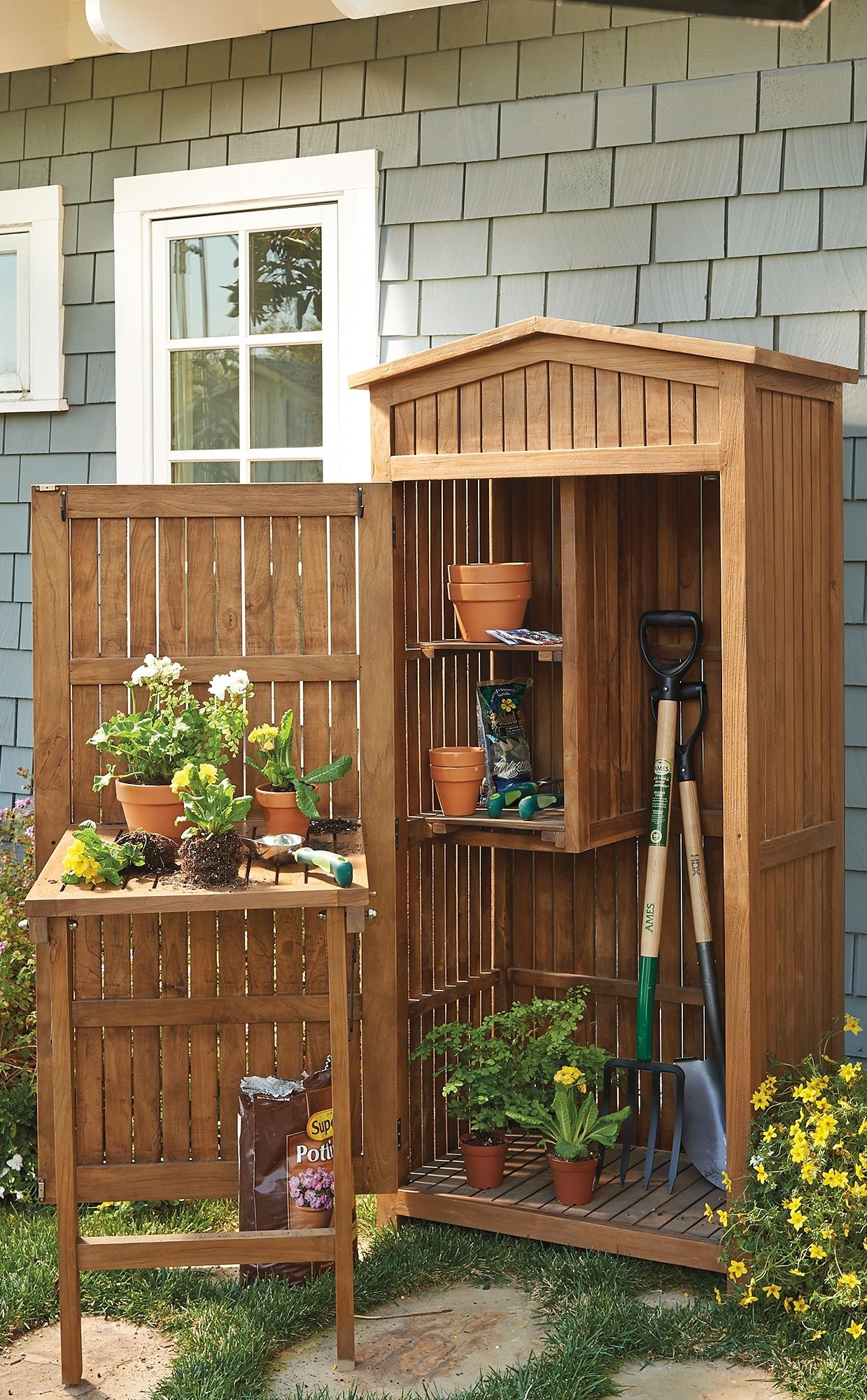 Teak Garden Storage Tool