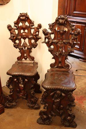 Pair Antique Italian Renaissance Chairs Ahsap Isleri