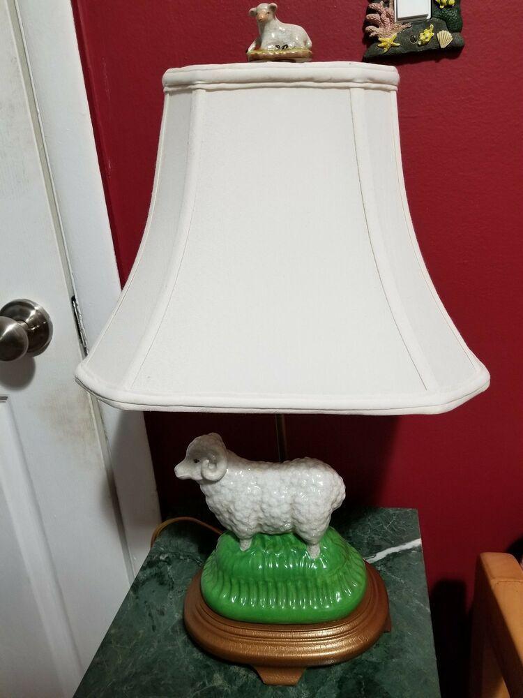Details About Vintage Porcelain Ram Lamb Figure Table Lamp 20