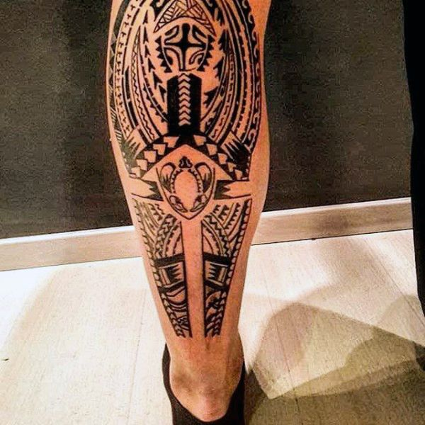 masculine guys leg tribal tattoos meow