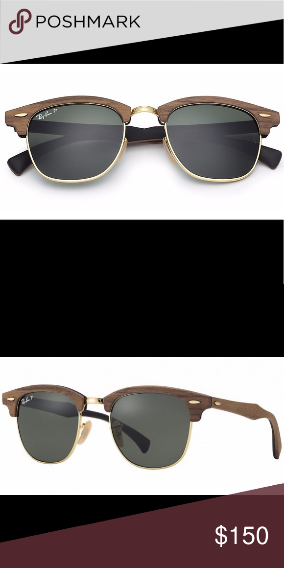 34a6d910af Ray-Ban Clubmaster Wood Polarized Sunglasses Gold In excellent used  condition. Retail  350. RB 3016-M. RB3016 RB3016M Ray-Ban Accessories  Sunglasses