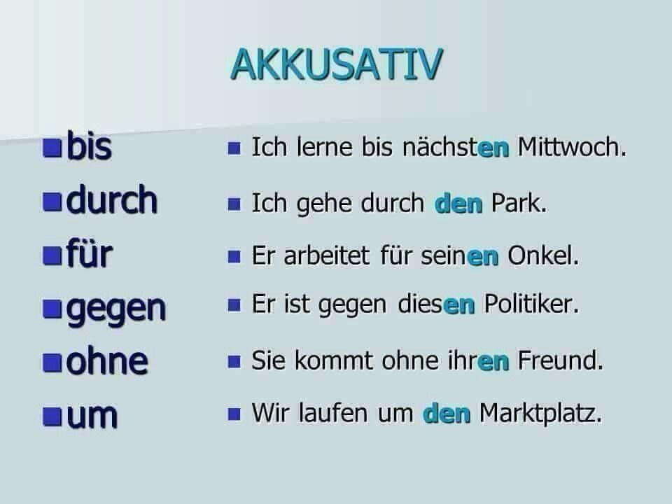 Akk Preposition German Language Learning German Language German Grammar