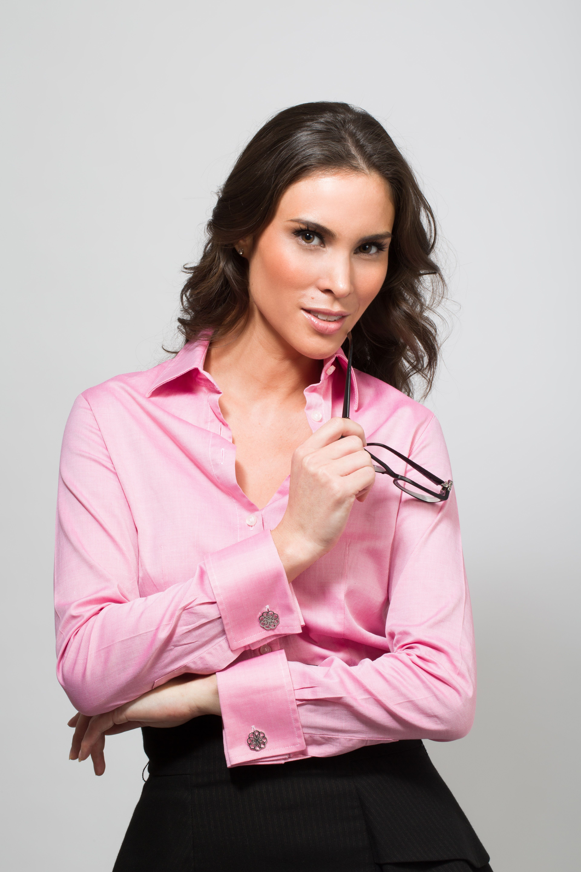 Pink French Cuff Shirt With Miss Links Gabriella Women S Cufflinks