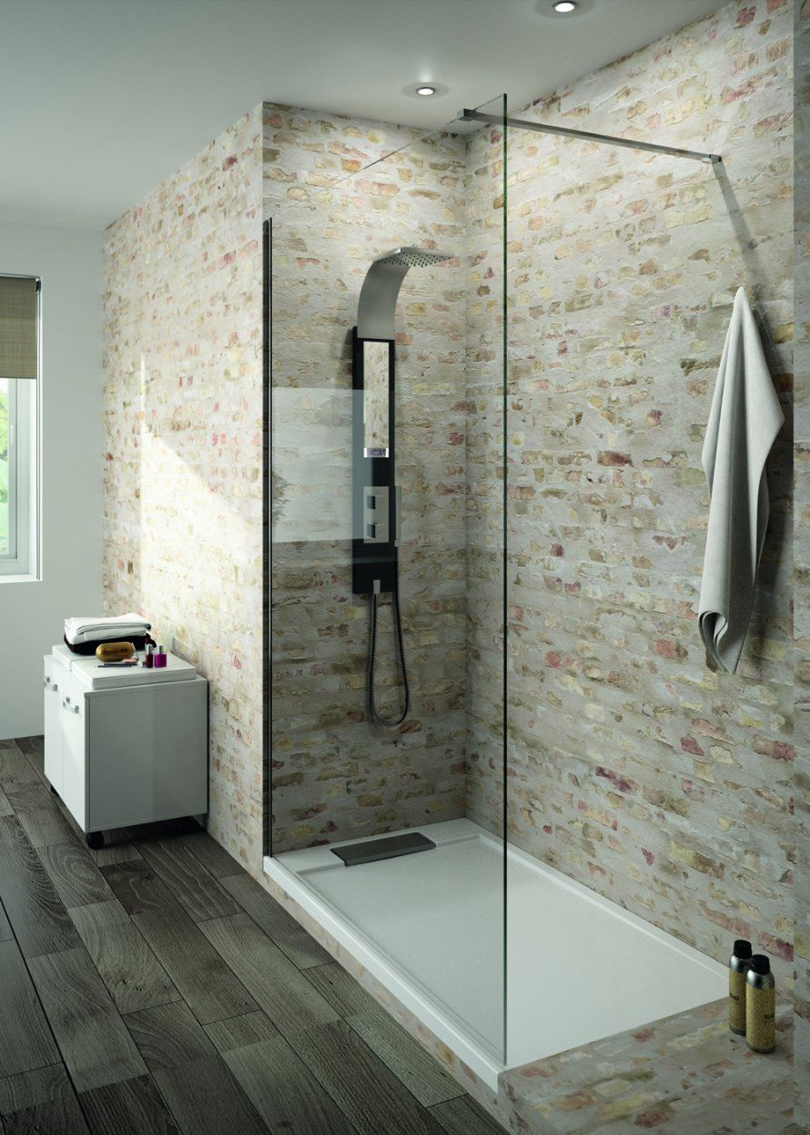douche italienne pierre apparrente salle de bains moderne salle de bains avec wc