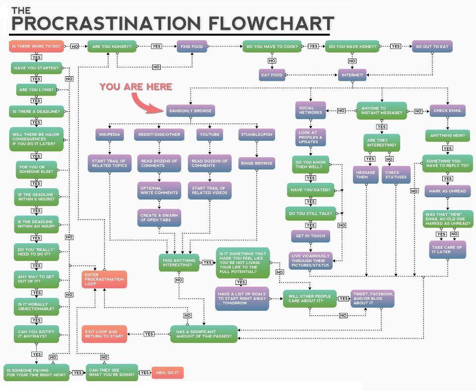 Procrastination Flowchart Fun and Humour Pinterest Flowchart - what is a flowchart