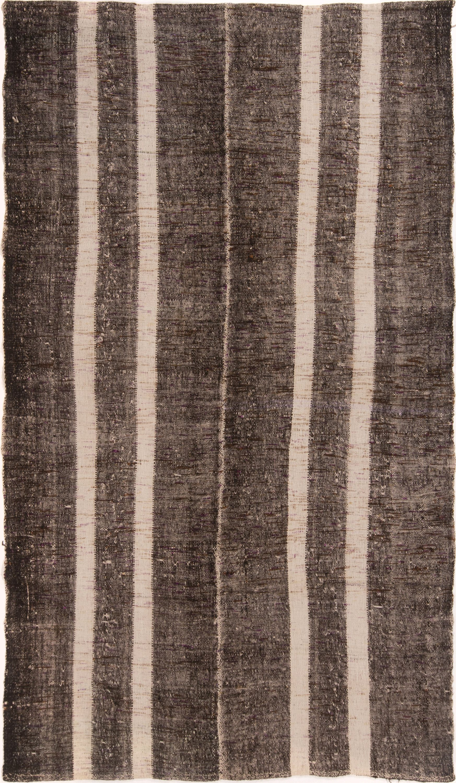 Brown And Cream Stripe Wool Kilim