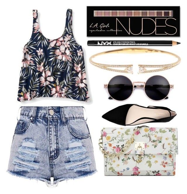 """""""Untitled #217"""" by nikki5673 ❤ liked on Polyvore featuring Aéropostale, MANGO, Charlotte Russe, NYX, Nine West and Nadri"""