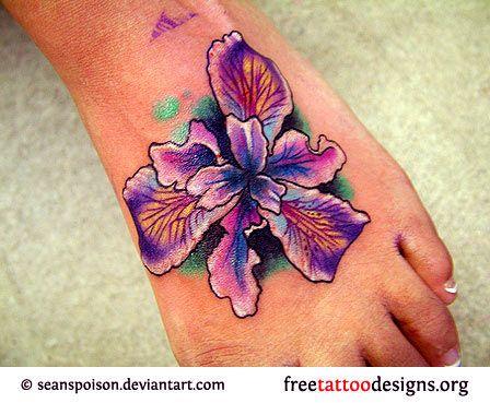 053cde1f42e66 Purple flower design on foot | Body Art | Foot tattoos, Flower ...