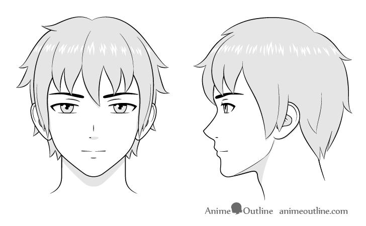 How To Draw Anime And Manga Male Head And Face Animeoutline Menggambar Wajah Sketsa Gambar