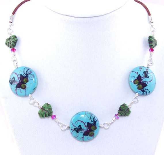Blue butterfly stone green ceramic leaf bead light brown leather cord necklace, Adjustable string silver, Hot pink Swarovski crystal, Choker on Wanelo