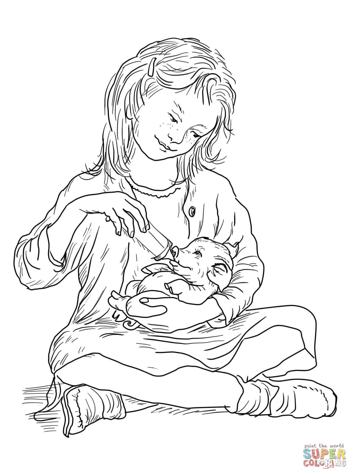 Fern Feeding Wilbur Coloring Page From Charlotte S Web