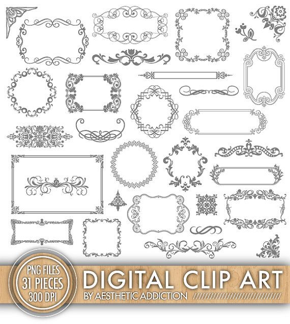 Instant Download Gray Fancy Flourishes And By Aestheticaddiction 2 99 Clip Art Pink Frames Clipart Frame Clipart
