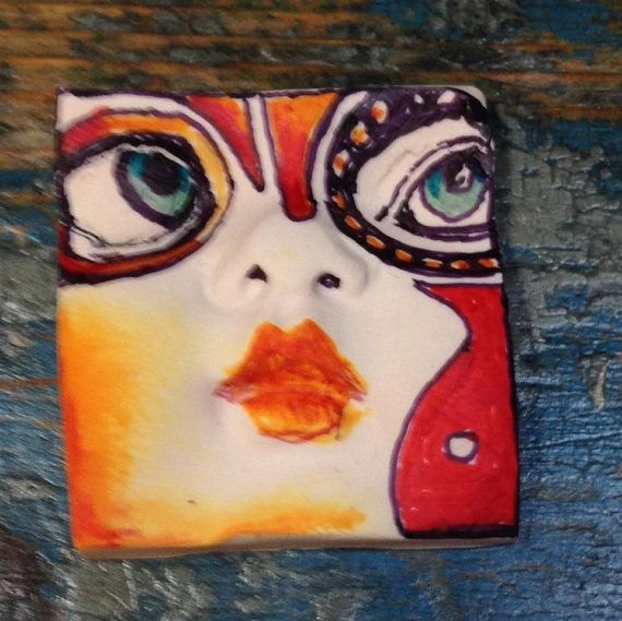 Handmade clay face tile   for jewelry, dolls and altered art.  mosaic tile  clay face polymer clay     measures:  1 1/2 x 1 1/2     inch  approximately