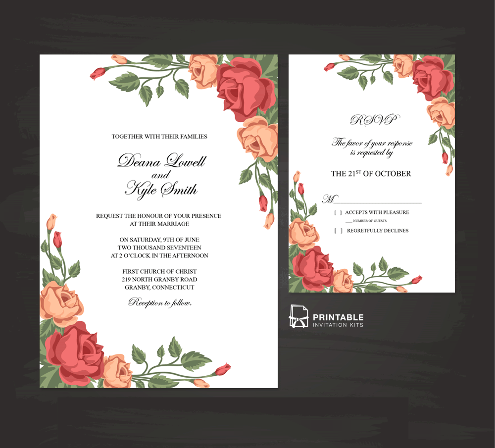 free to download and print vintage rose blossoms invitation and rsvp
