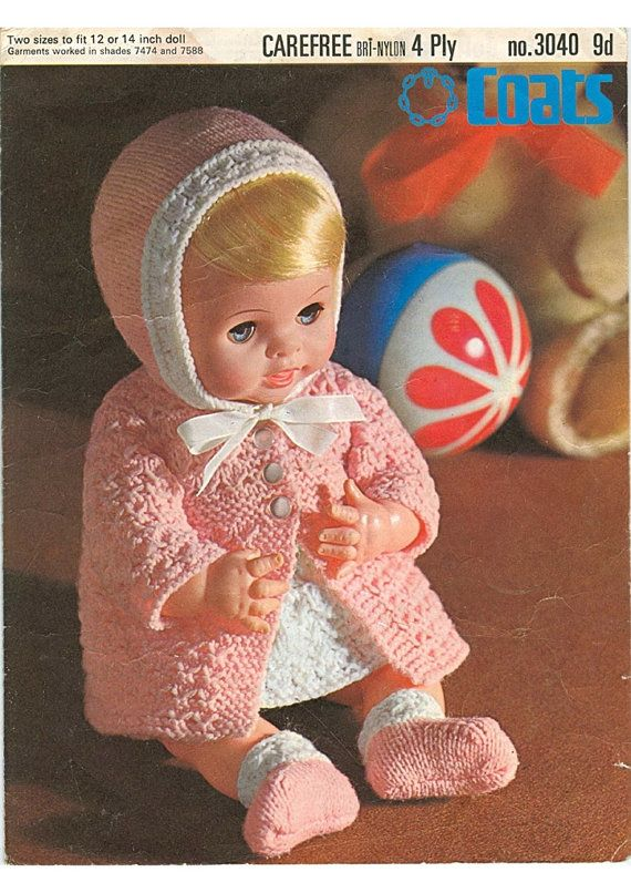 Doll Knitting Pattern Layette For 12 And 14 Inch Doll 4 Ply Etsy Knitting Dolls Clothes Vintage Knitting Patterns Knitting Patterns