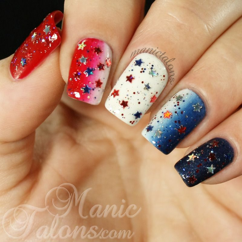 Red White and Blue Gradient nail art by ManicTalons - Red White And Blue Gradient Nail Art By ManicTalons Nails