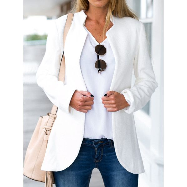White Stand Collar Long Sleeve Slim Blazer ($34) ❤ liked on Polyvore featuring outerwear, jackets, blazers, slim fit blazer, blazer jacket, slim jacket, long sleeve blazer and slim blazer jacket