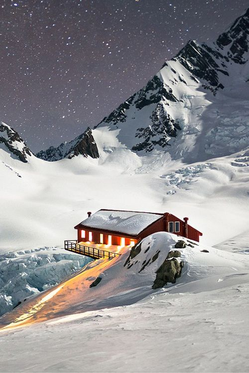 The extraordinary location of Plateau Hut which sits opposite Mt Cook in New Zealand.