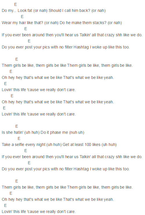 Capo 2 Them Girls Be Like Chords Fifth Harmony Guitar Pinterest