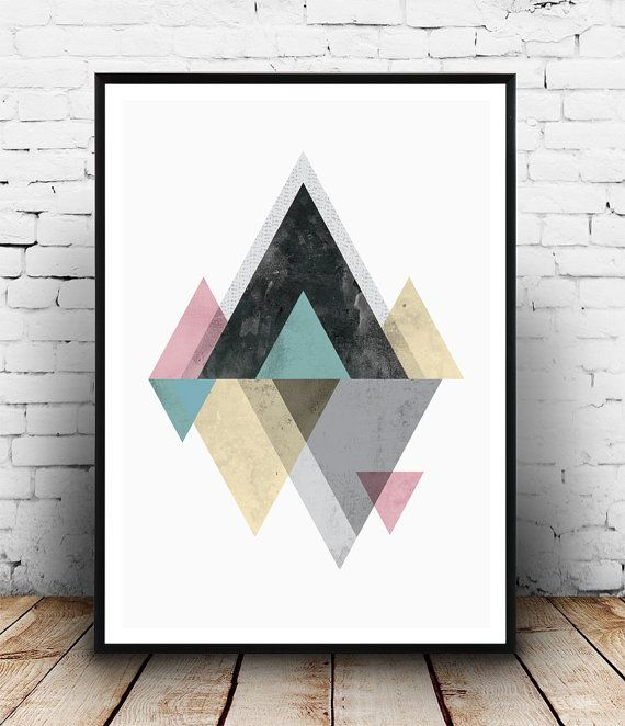 Watercolor Print Geometric Poster Mountnains Poster By